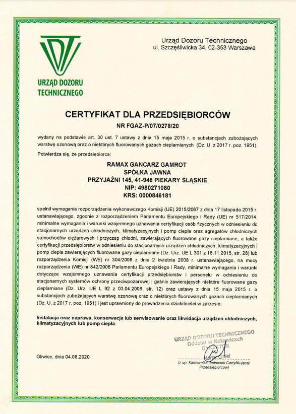 certyfikat RAMAX 2